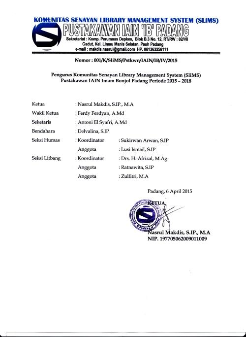 Komunitas SLiMS Pustakawan IAIN Padang 2016.jpg