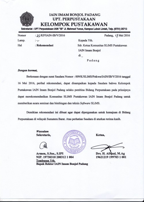 Surat rekomendasi SLiMS dari Kelompok Pustakawan IAIN Padang 2016.jpg